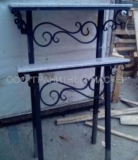 Стол с лавкой с элементами ковки